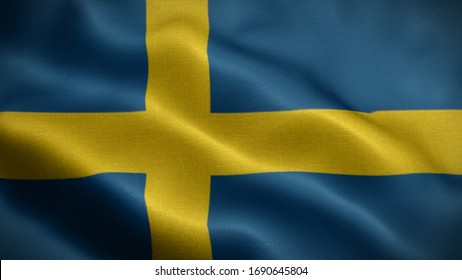 Close up waving flag of Sweden