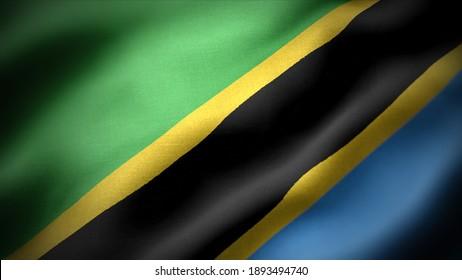 close up waving flag of Tanzania. flag symbols of Tanzania..