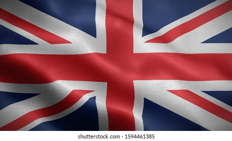 Close up waving flag of United kingdom