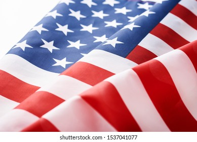 Close up of waving national usa american flag as background. Concept of Memorial or Independence Day or 4th of July