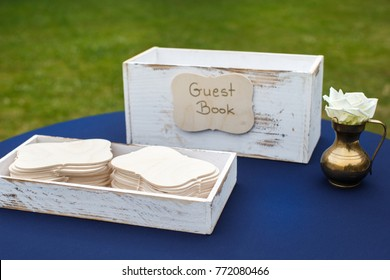 Close up of wedding guest book on the table.