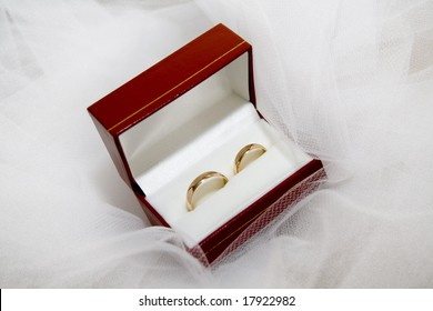 close up of wedding rings in red box