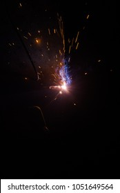 Close up welding steel with sparks