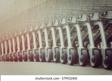 Close up wheel of shopping cart, process vintage tone