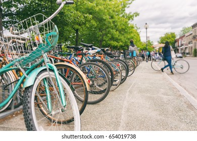 Close up of wheels of bicycles in Montreal, Canada