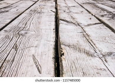Close up of white boardwalk of stripped weathered wooden planks with scratches in perspective. Abstract natural texture background
