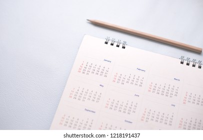 Close up white calendar in planning concept.