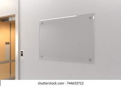 Close up of white concrete wall with blank glass poster in interior with elevator. Success, startup, advertising concept. Mock up, 3D Rendering