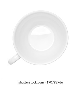 close up of  a white cup on white background