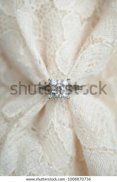 Close White Gold Diamond Engagement Ring Stock Image Download Now