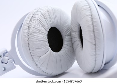 close up white headphone