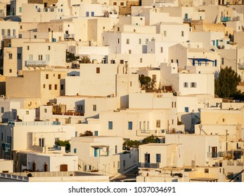 Close up of the white houses of Astypalaia island ,during the golden hour ,sunset