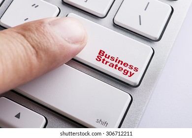 Close up white keyboard button conceptual-Business Strategy
