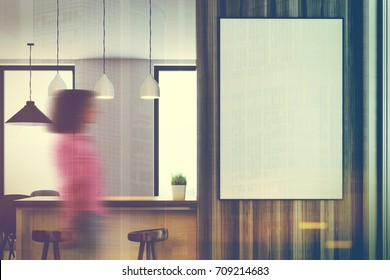 Close up of a white kitchen with a bar stand, a dining table with gray chairs, narrow windows and a large framed poster on the wall. A woman. 3d rendering mock up toned image double exposure