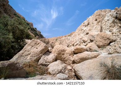 Close up of white limestones of a hill with poor soil and hill with green. Bare stones versus greenary against blue sky. Landscape with two rocks and skyscape. Picturesque mountains