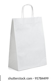 close up of  a white paper bag on white background with clipping path