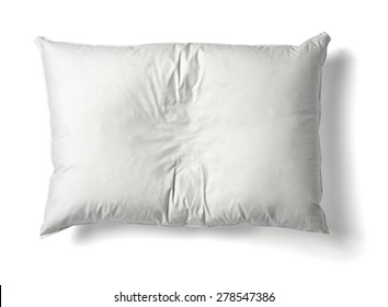 close up of  a white pillow on white background
