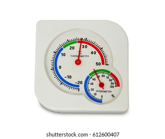 close up white plastic analog thermometer and hygrometer isolated on white background. clipping path