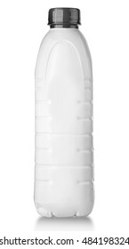 close up of a white plastic bottle on white background with clipping path