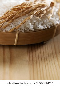 close up of the white rice and paddy