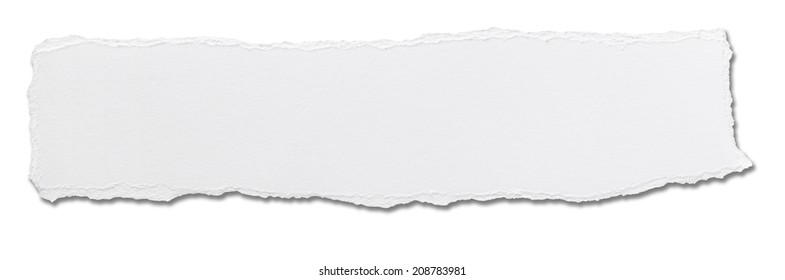 close up of  a white ripped piece of paper on white background