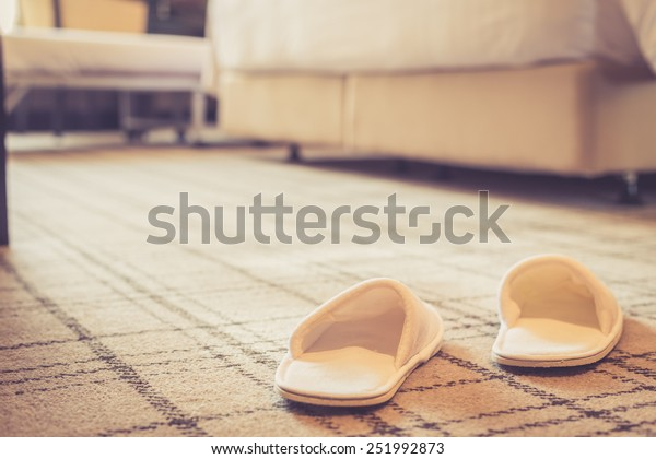 Close up white shoe in hotel room