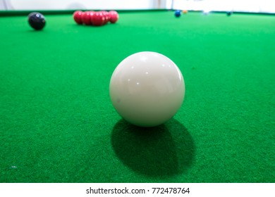Close up white snooker ball on the snooker table