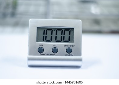 Close up White timer clock in laboratory.
