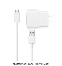 Close up white USB and micro USB cable plug with USB power plug adaptor, isolated on white background