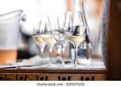 Close UP - White Wine Glass