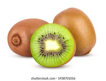 Close up of Whole kiwi fruit and sliced isolated on white background