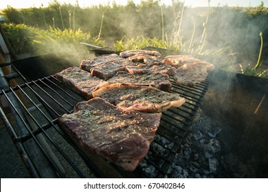 Close up wide angle view of meat on the braai / barbeque as a traditional meal in south africa