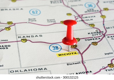 Close up of Wighita   Kansan  USA  map with red pin   - Travel concept
