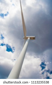 Close up of a wind turbine producing alternative energy