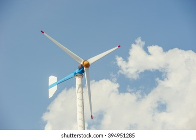 Close up of  wind turbines ,blue sky background