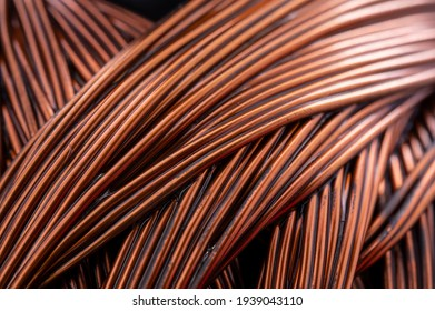 Close up of a winding of an electric motor. Copper motor windings.