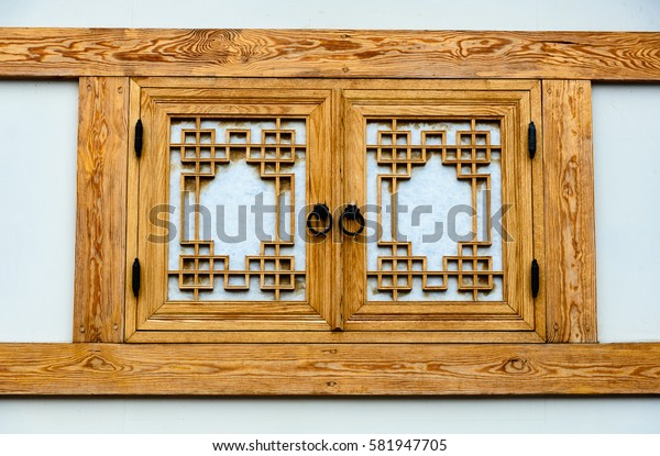 Close up of a window in Bukchon village in Seoul
