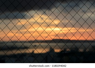Close up the Window Wire Mesh, against the Beautiful Sunset