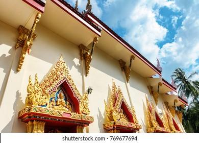 close up windows bass-relief in Beautiful temple Wat Samai Kongka on Ko Pha Ngan, Thailand.