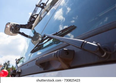 Close up of Windshield truck, windshield wipers