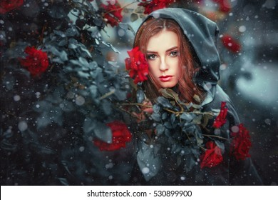 Close up winter portrait of a beautiful red haired girl in green medieval dress in a hood. Pretty young model between red roses under snowflakes.Art work.