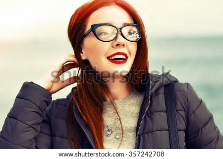 fb3e8560f3417 Close Winter Sensual Portrait Pretty Ginger Stock Photo (Edit Now ...