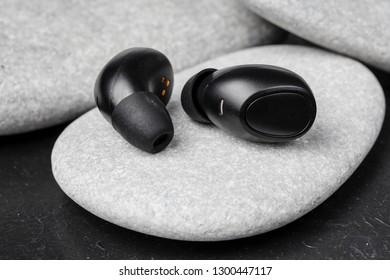 Close up wireless earphones, waterproof for fitnes