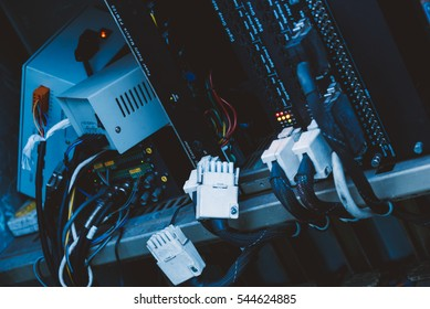 Close up of wires on server