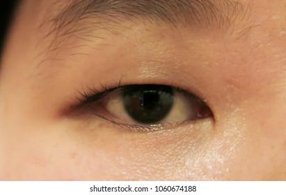 Close up woman asian eye,girl eye,single eyelids