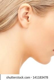close up of woman beautiful naked ear
