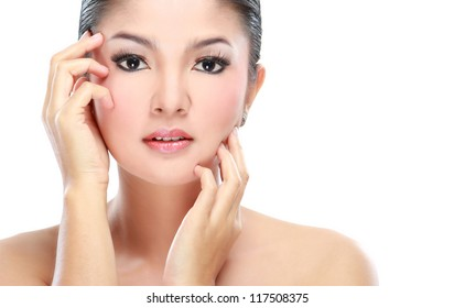 close up of woman beauty isolated over white background