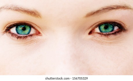 Close up of a woman with blue eyes