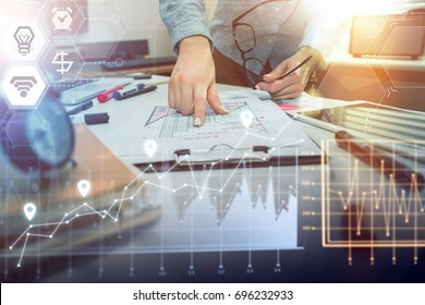 Close up of woman business analyst examining financial graph. Checking project income statistics. Work in process. Business, office concept.
