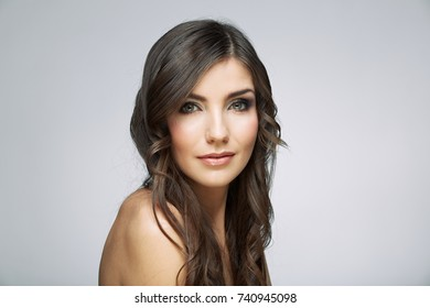 Close up woman face beauty portrait. Isolated.